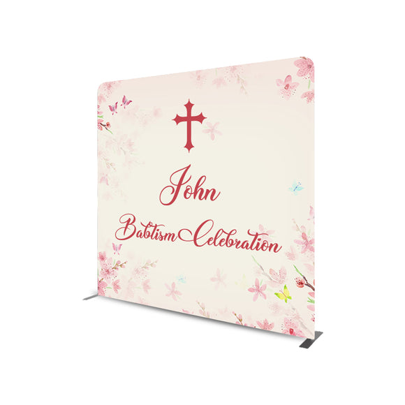 Baptism Celebration Straight Tension Fabric Media Wall Backdrop