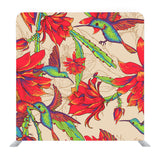 Beautiful Tropical Background Of Red Flowers And Hummingbirds Background Media Wall