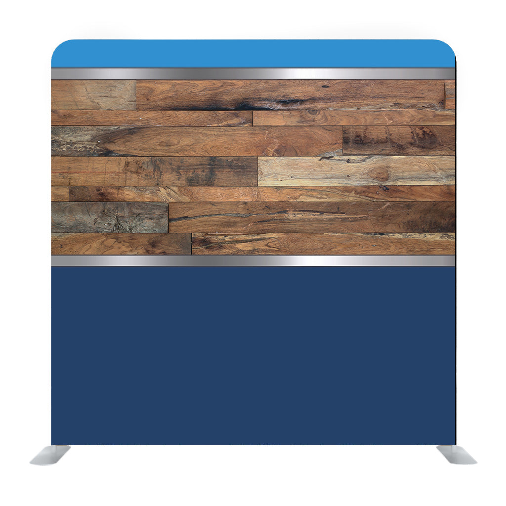 Blue backdrop with wooden design Media wall