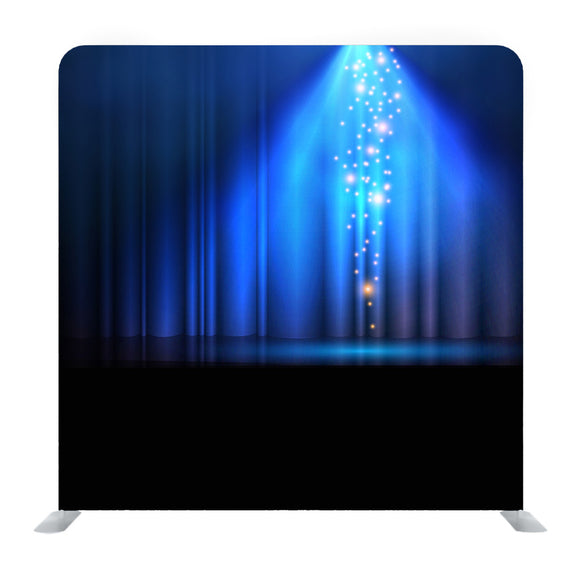 Blue Curtains On Theater With Spotlight Backdrop Media Wall