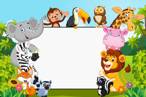 Cartoon Collection Animal With Blank Sign Backdrop