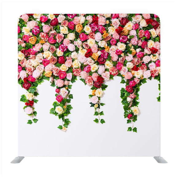 Close up of white wall with colorful flowers composition Backdrop