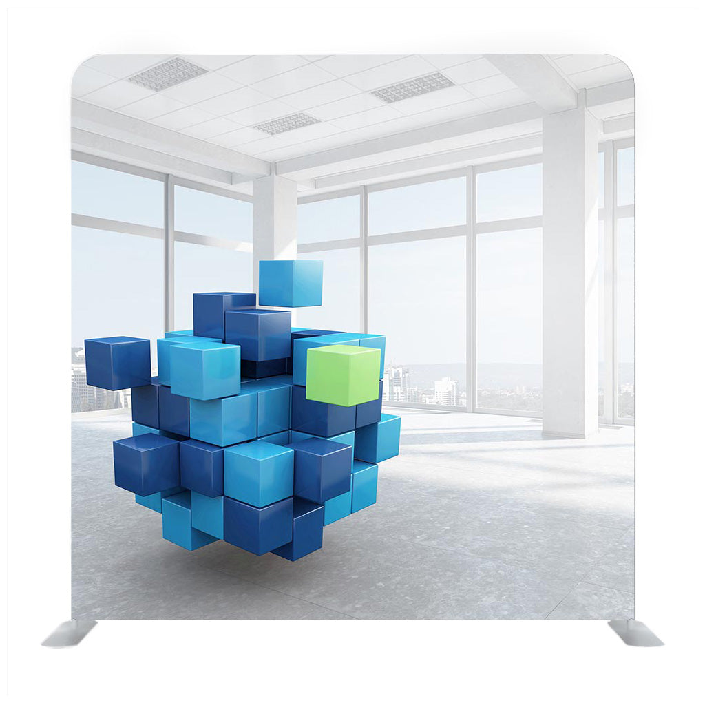 Cube in modern office . Mixed media Backdrop