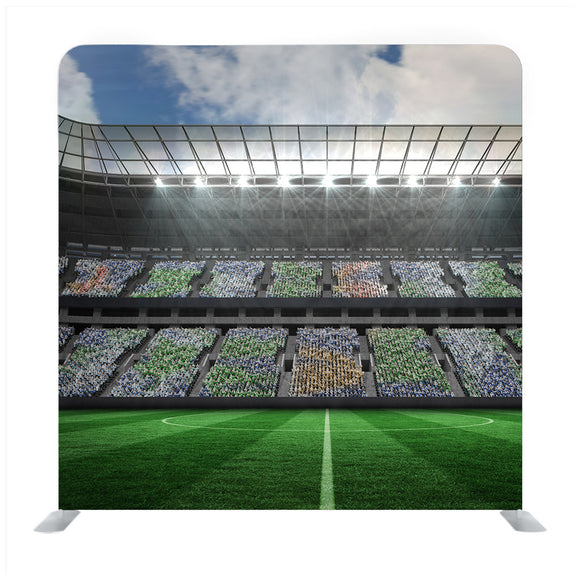 Digitally Generated Image Of Illuminated Stadium Copy Space Against Sky 3d Background Media Wall