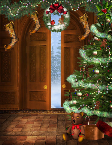 Door Step Christmas Photography Print Photography Backdrop