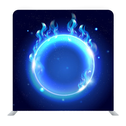 Fire Burning On Shiny Round Frame Media Wall