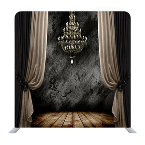 Grunge Dark R oom Interior With Wood Floor And Chandelier Background Media Wall