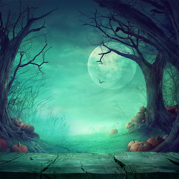 Spooky Forest with Dead Trees & Pumpkins Grungy White Concrete Wall Background