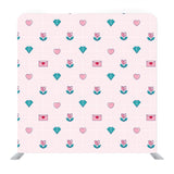 Hand drawn little hearts and diamond with baby pink background Media wall