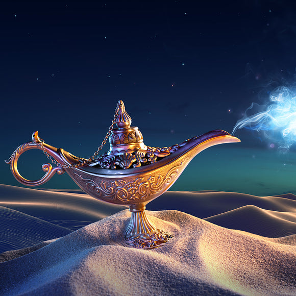 Lamp of Wishes In The Desert Background