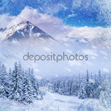 Magical Winter Snow Landscape Print Photography Backdrop