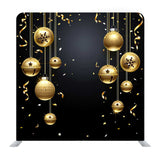New Year Poster With Golden Balls And Black Background Media Wall