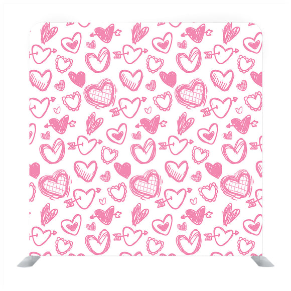 Pink hand drawn heart pattern with white background Media wall