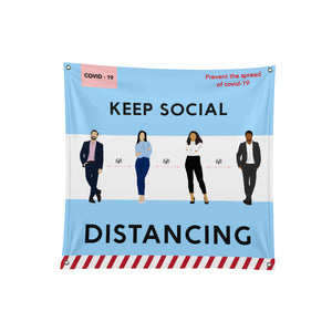Social Distancing Fabric Banner - 03