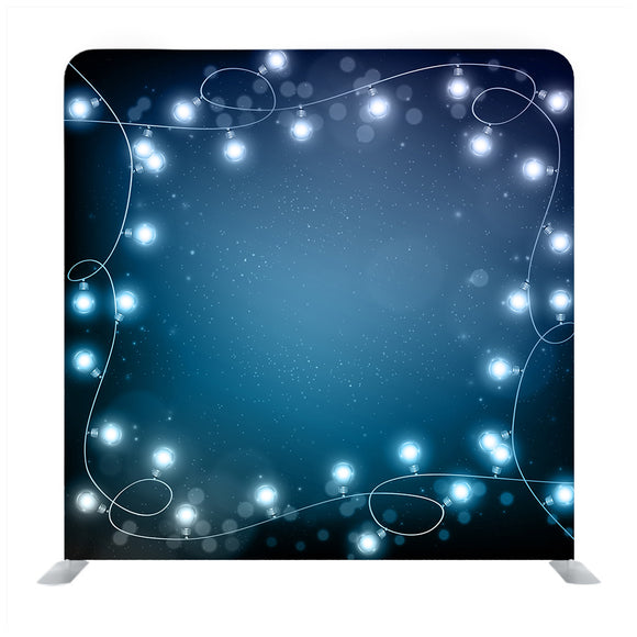 Realistic Lantern Garland on Dark Night Sky Background with Snowflakes Backdrop