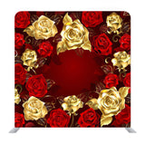 Red and Gold Roses with Red Texture Media Wall