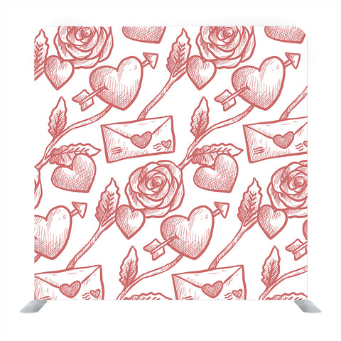 Red hand drawn rose with white backdrop Media wall