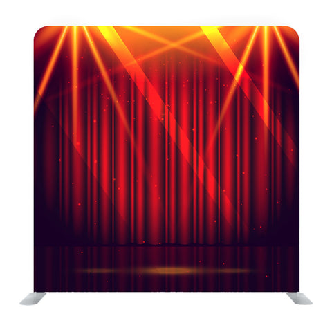 Red Theater Curtain With Glitter And Lights Media Wall