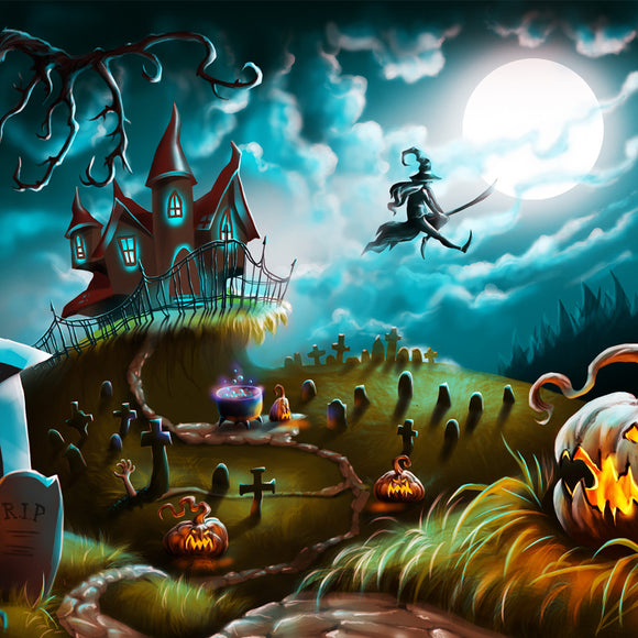 Halloween Night Mystery Graveyard Illustration Backdrop