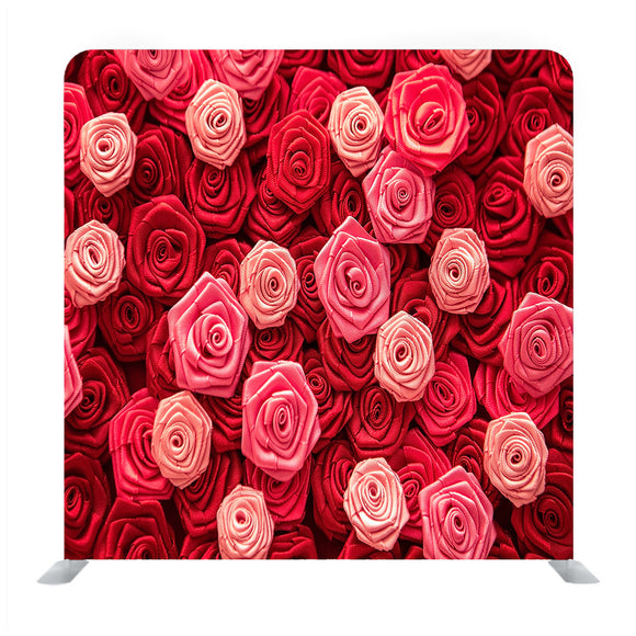 Satin Atlas Ribbon Red And Pink Roses Pattern Background Media Wall