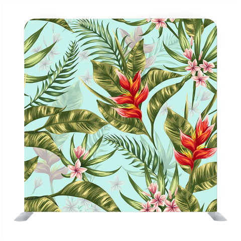 Seamless Pattern With Tropical Flowers In Watercolor Style Backdrop
