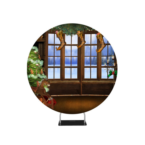 Snowy Outview Photo Christmas Backdrop Circle backdrop stand