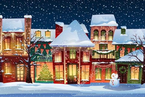 Snowy Holiday Winter Town Eve Indelible Print Fabric Backdrop