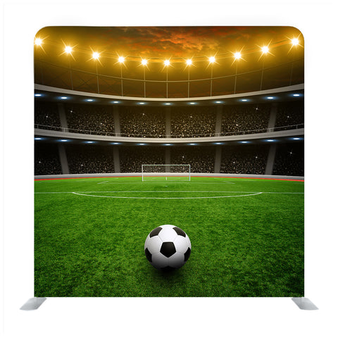 Soccer Ball On Green Stadium, Arena In Night Illuminated Yellow Bright Spotlights Background Media Wall