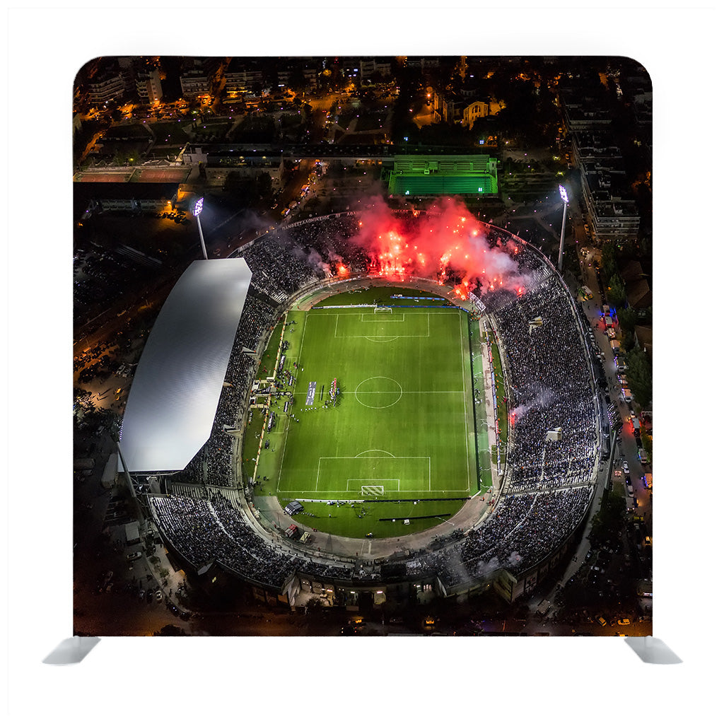 Soccer stadium from aerial view Media wall