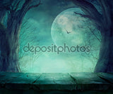 Dark Moon Spooky Tree Halloween  Backdrop
