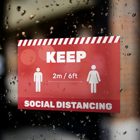 Social Distancing Window Decals / Sticker  - 01