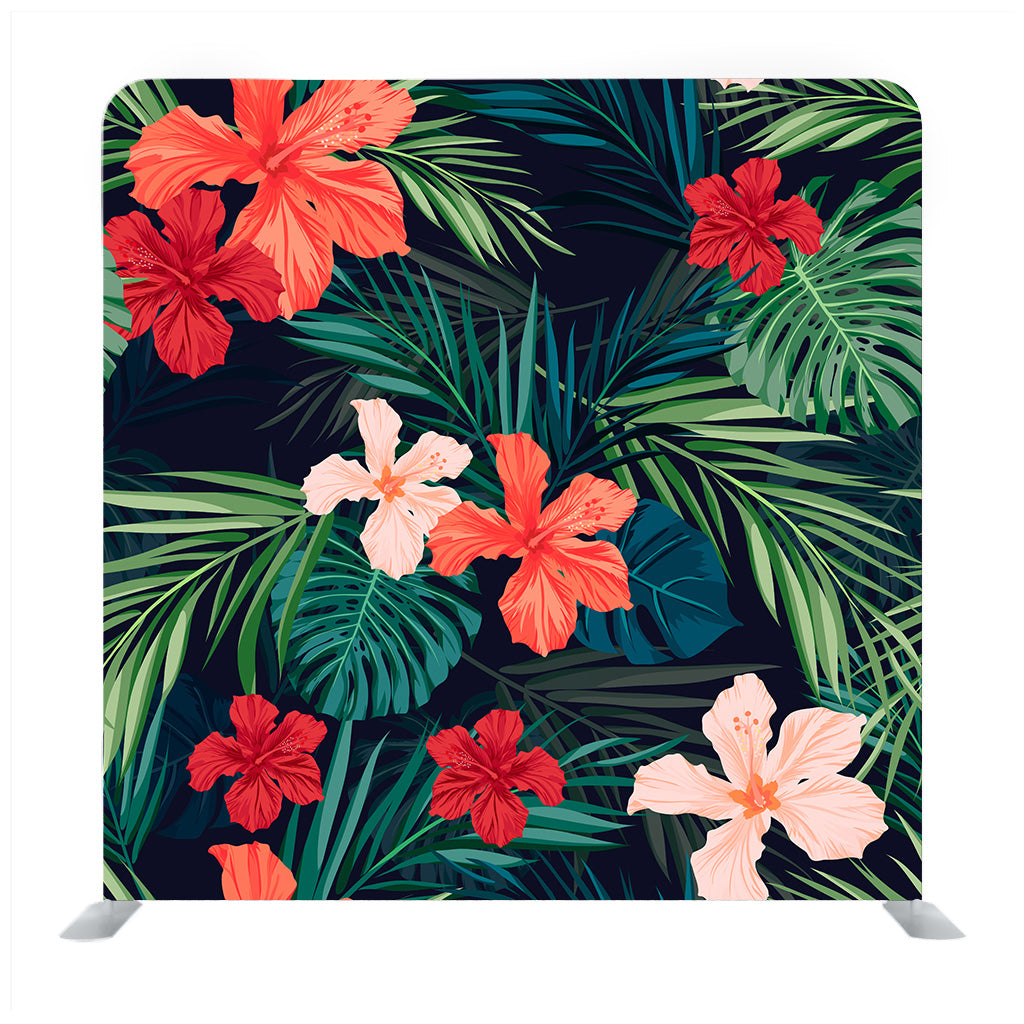 Summer Colorful Hawaiian Seamless Pattern With Tropical Plants And Hibiscus  Flowers Backdrop