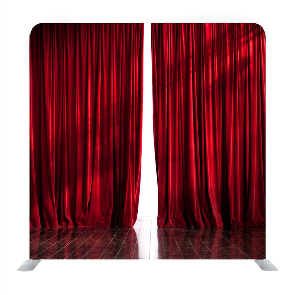 Theater Red Curtains Slightly Open Background Media Wall