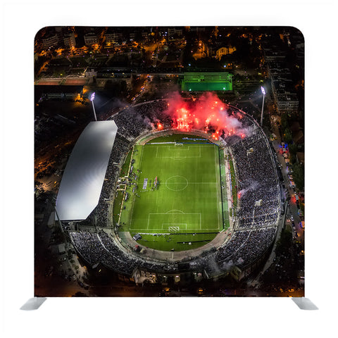 Top view soccer stadium media wall