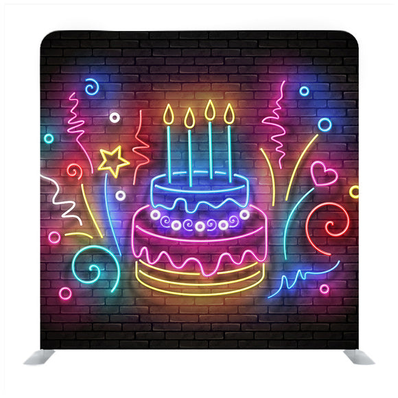 Vintage Glow Birthday Cake Media Wall