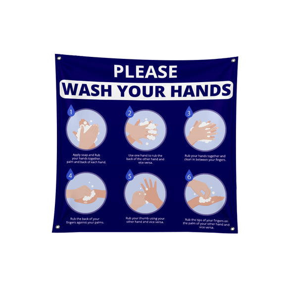 Wash Your Hands Fabric Banner - 01