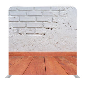 White Bricks wall and Wooden Floor Media Wall