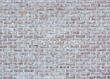 Whitewashed Brick Wall Texture Indelible Print Fabric Backdrop