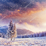 Winter with Soft Highlights and Snow Flakes Indelible Print Fabric Backdrop