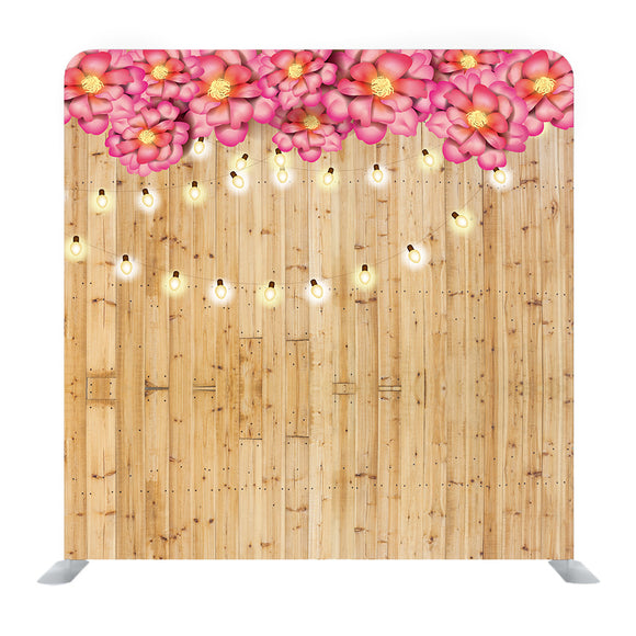 Wood backdrop with fairy light settings Media wall