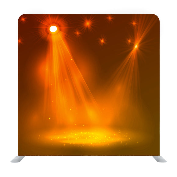 Yellow Spotlight On Stage With Smoke And Light Media Wall