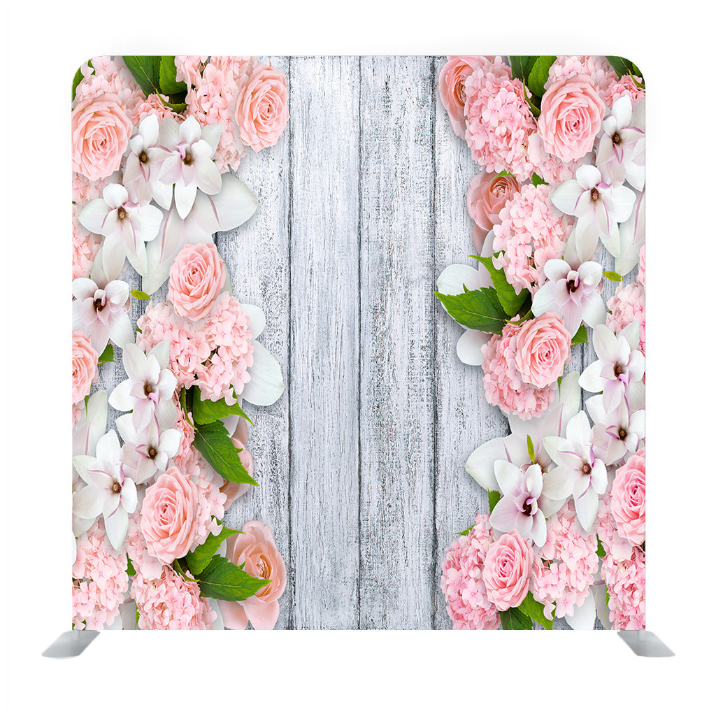 Background Of Shabby Wooden Board With Magnolia Flowers Media Wall
