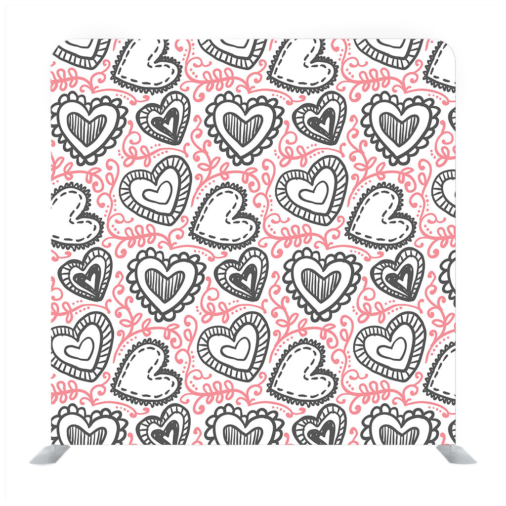 Black Hearts Pattern Background Valentine Day Design For Greeting Card Background Media Wall