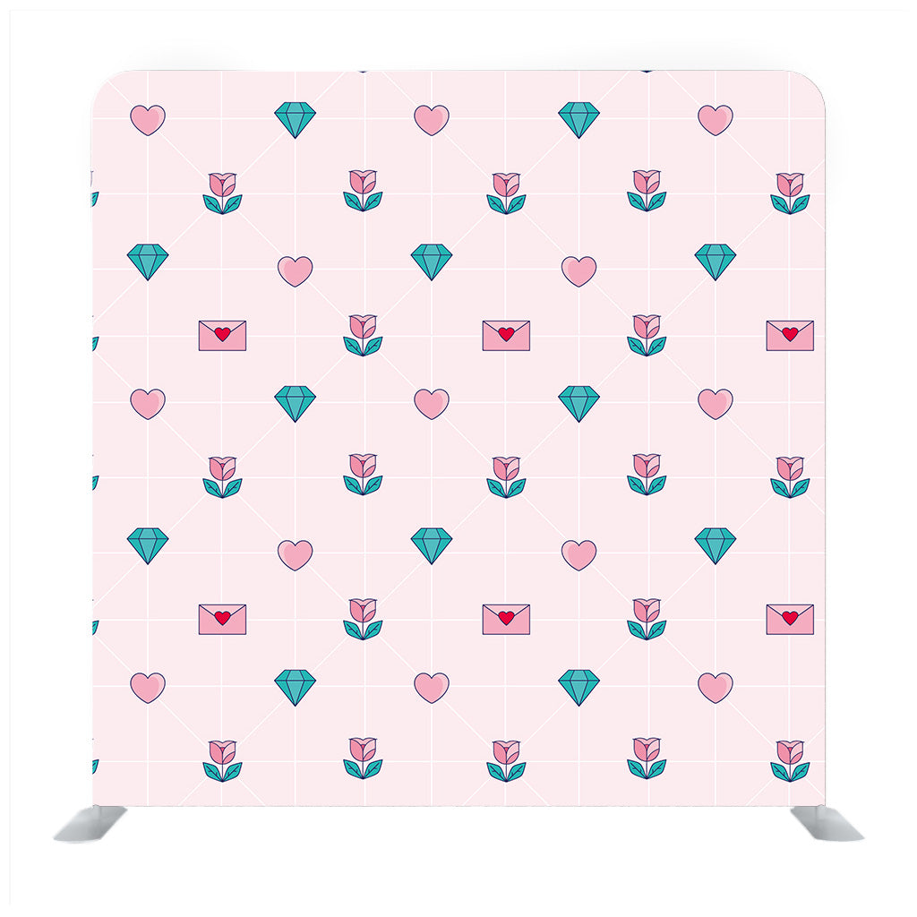 Geometric Pattern With Hearts And Diamonds Background Media Wall