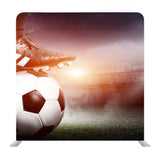 Legs Of A Soccer Or Football Player On Ball On Stadium Background Media Wall