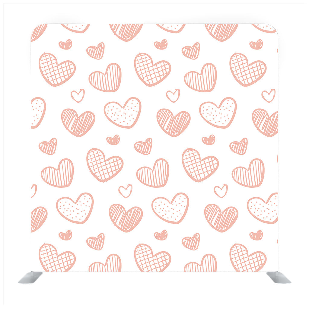 Pattern Hearts On a White Background Hand-Drawn Background Media Wall