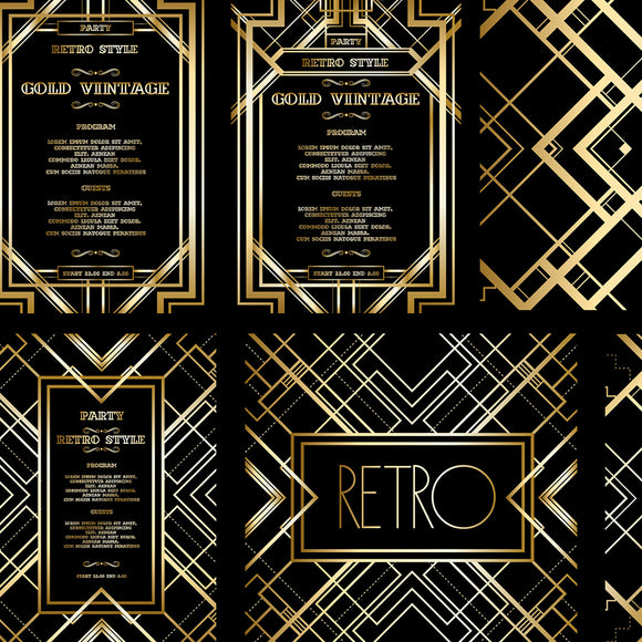 Retro Pattern for Vintage Party Gatsby Style Background