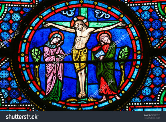 Jesus Crucifixion in Cathedral of Bayeux Print Photography Backdrop
