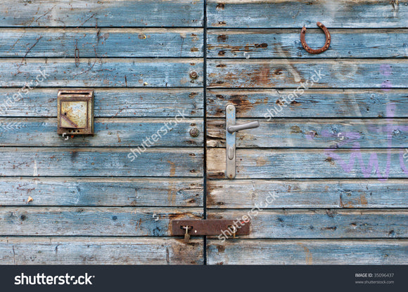 Old Blue Barn Gate Print Photography Backdrop