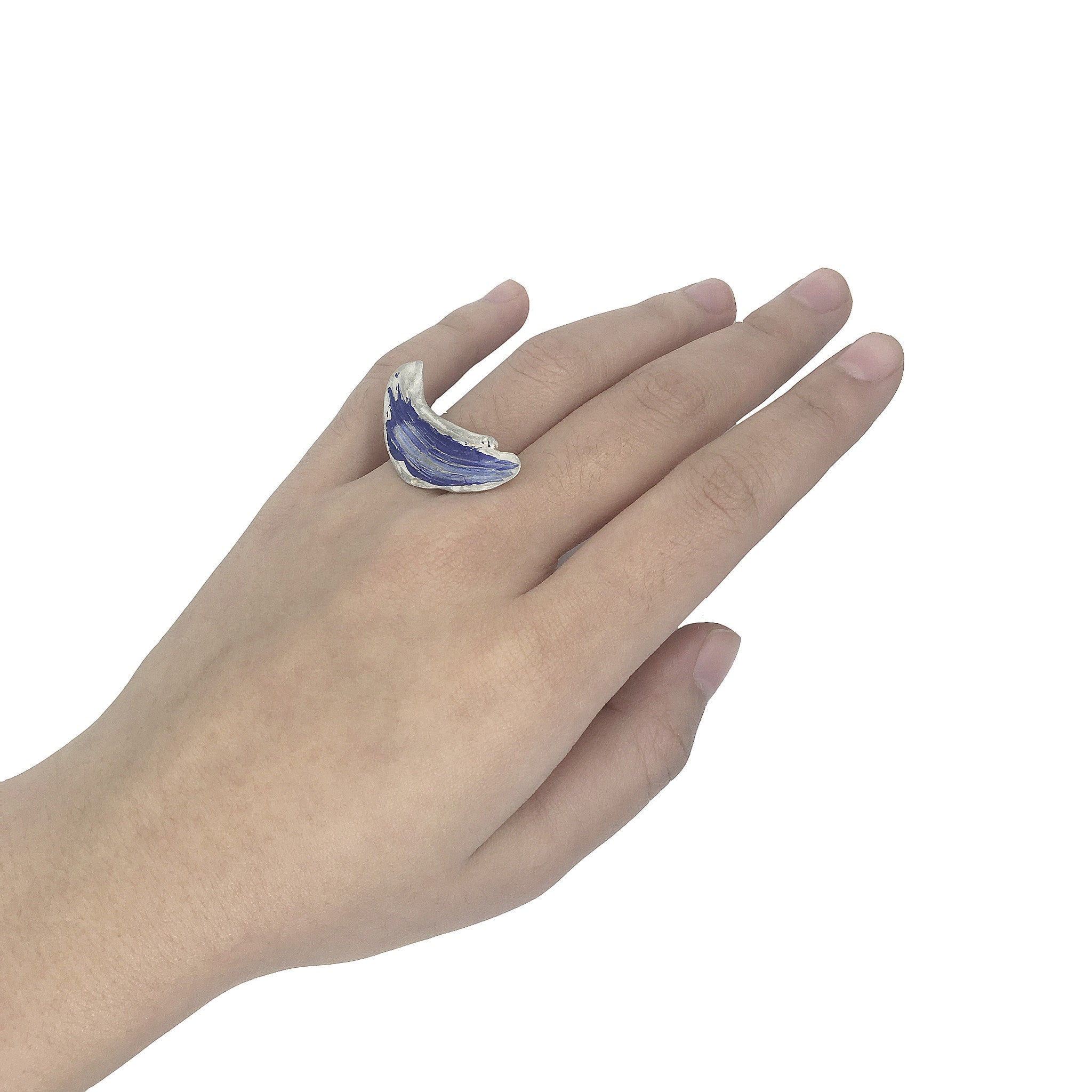 Blue Paint Swirl Ring by Lion Studio - Laboratory S